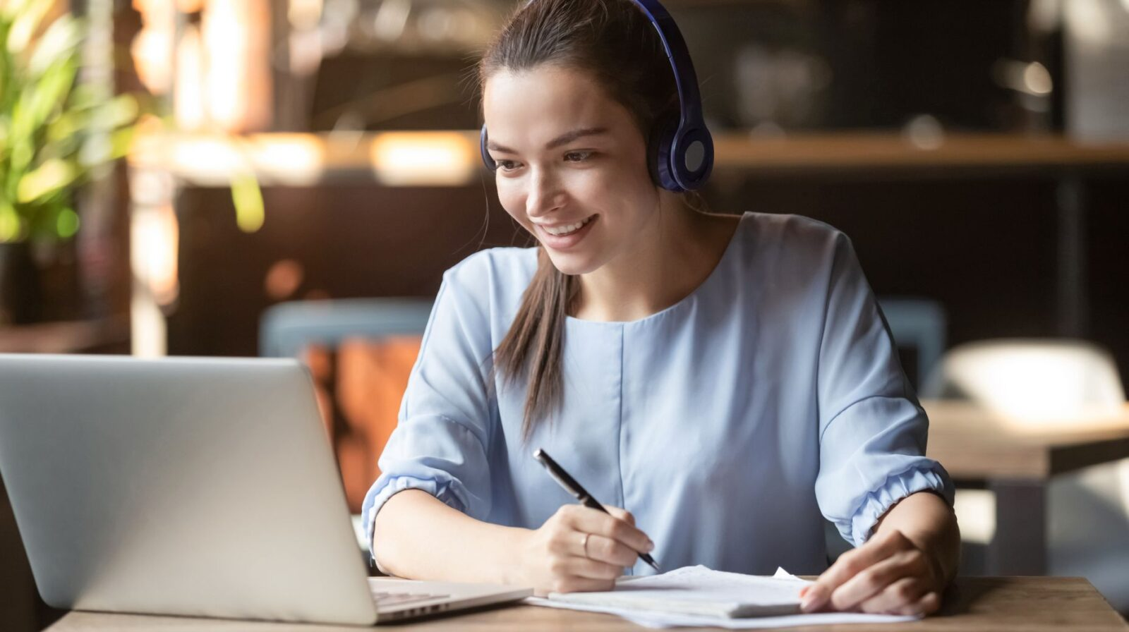 Smiling,Girl,Student,Wear,Wireless,Headphone,Study,Online,With,Skype