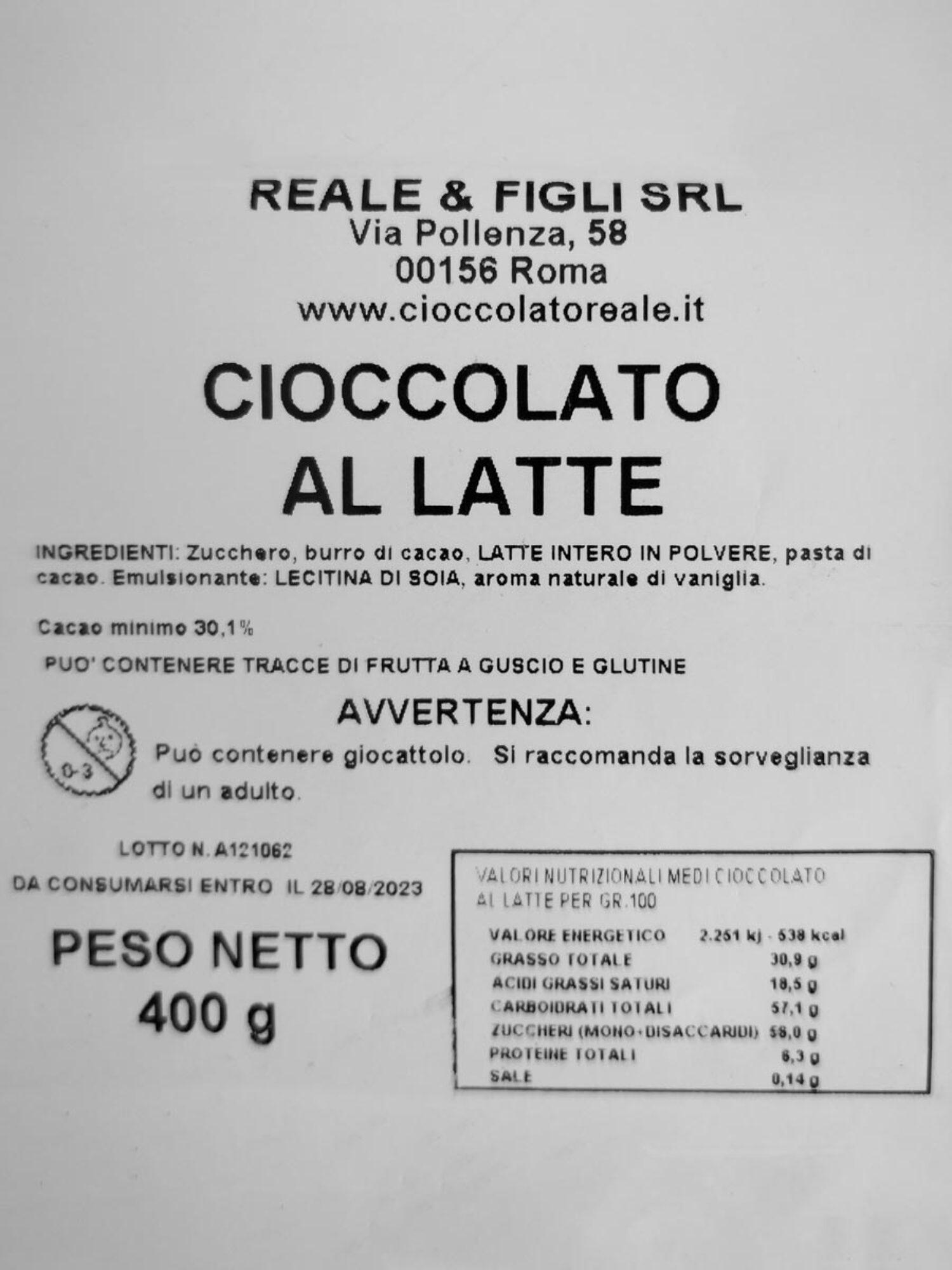 Uovo di cioccolato al Latte 400 gr.