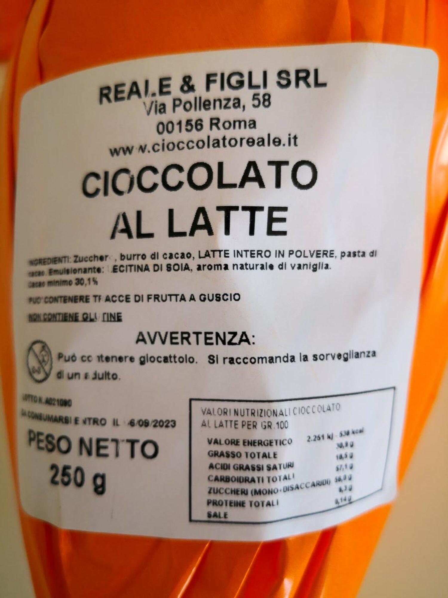 Uovo di cioccolato al latte senza glutine 250 gr.